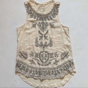 Lucky Brand Paisley Embroidered tank top